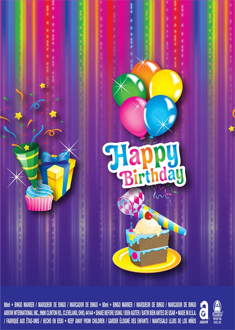 Happy Birthday / Balloons, Cupcake and Gifts