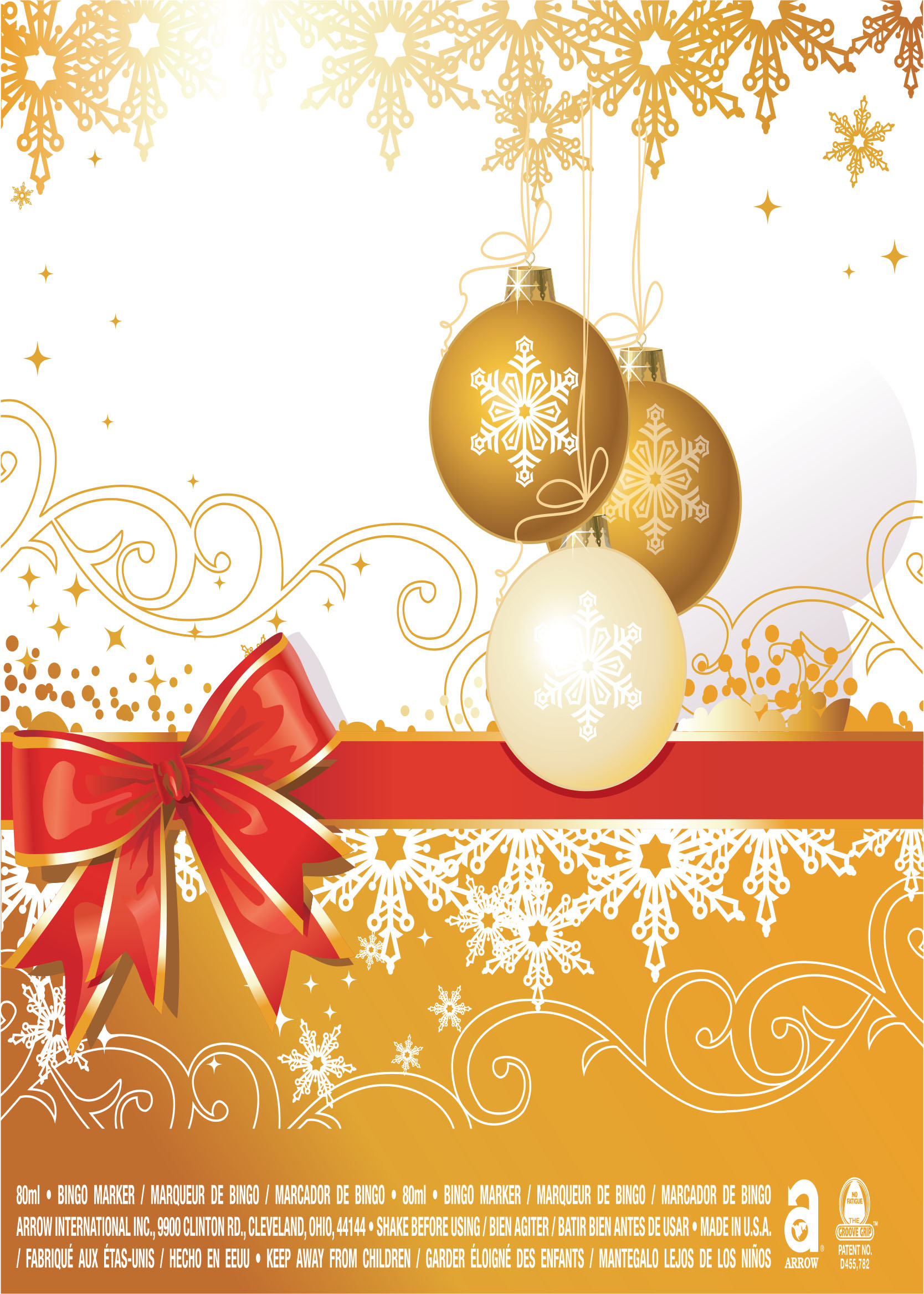 Merry Christmas / Gold Ornaments and Ribbon