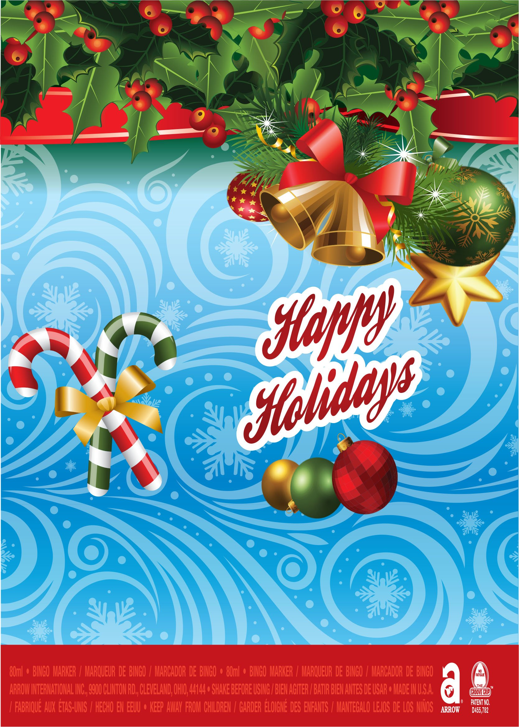 Happy Holidays / Candy Cane, Bells and Holly